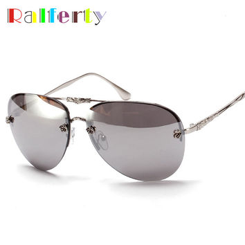 Ralferty Luxury Flower Mirrored Sunglasses Women Pilot Sun Glasses Woman Oversized Rimless Oval Sun Glasses Oculos feminino 1538