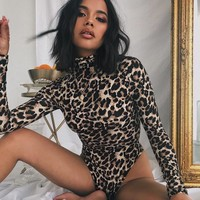 Long Sleeve Sexy Autumn Leopard One-piece [1890289680481]