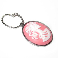 Lady Skeleton Cameo Keychain 30x40mm Skull Cameo Lolita Skeleton Keychain Pink Black White