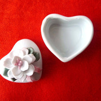 Heart Shaped Small Box with Flowers - Vintage White Porcelain