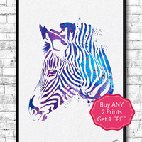 Zebra Watercolor Print Animal Wall Decor Children Boy Girl Kids Baby Room Nursery Art Decor Bedroom Children's Art Blue Purple Zebra Poster