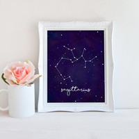 Sagittarius Zodiac Constellation Horoscope Watercolor Printable Sign, Star Night Sky, Digital Wall Art Template, Instant Download,8x10
