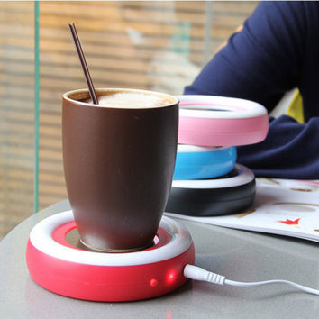1pc Lovely USB Rainbow Silicone Coffee Hot Insulation Dish Milk Tea Cup Mat Coffee Mug glass ceramics Cap #25
