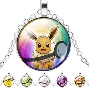 Pokemon Pendant Necklace Fashion Round Glass Necklace Pokemon Pocket Monster Necklaces Vintage Silver Choker Necklace