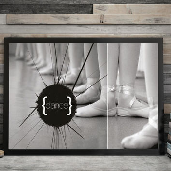 Instant download. Black and white Wall Art, wall decor, printable art, dancing, ballet, modern, digital poster print.