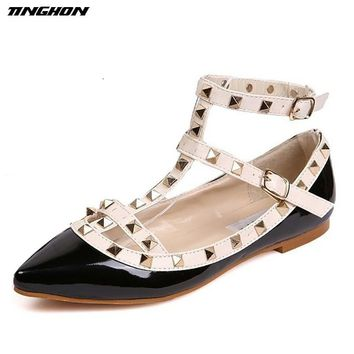 Fashion Women Rivet Pointed Toe Color Block Patent Leather Gladi 74652d783c02