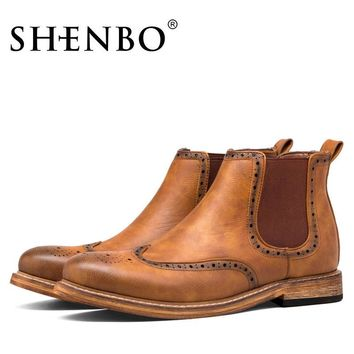 SHENBO Brand Fashion Brogue Men Boots, Handsome Men Ankle Boots, Popular Brown Boots F