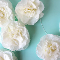 Ivory tissue paper rose garland, wedding decoration, party decoration, baby shower