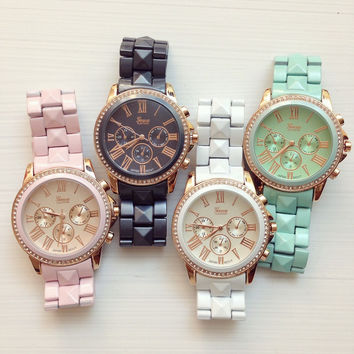 Cute Pastel Color Metal Watches #W86