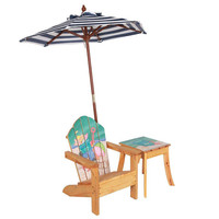 Teamson Kids - Outdoor Kids Table and Adirondack Chair Set with Umbrella - Sea Turtle
