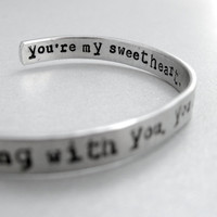 Personalized Bracelet - I Belong with You/Lumineers - 2-Sided Hand Stamped Aluminum Cuff - customizable
