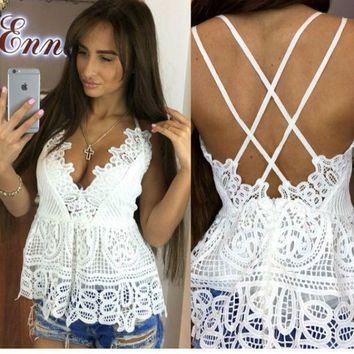 CREYHY3 Summer Women Deep V Neck White Lace Bralette Tank Top Sexy Spaghetti Strapless Backless White Blouse Blusa