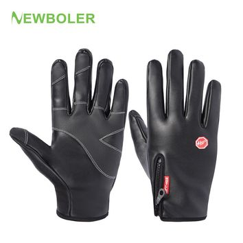 NEWBOLER  Cycling Gloves Leather Waterproof Anti-Slip Full Finger Glove Bike Bicycle Driving Outdoor Sport Winter Thermal Gloves