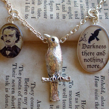 Edgar Allan Poe Charm Necklace - The Raven Quote - Raven Charm - Antique Goth Print Necklace W/ Chain in Silver