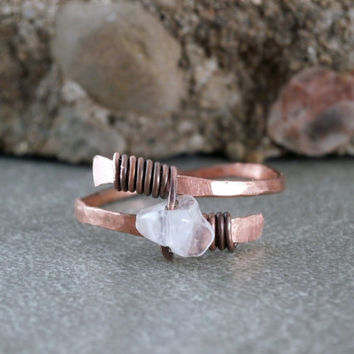 Quartz Crystal Ring Oxidized Copper Wire Wrapped Ring Rustic Style White Crystal Gemstone Jewelry Quartz Crystal Jewelry Made to Order
