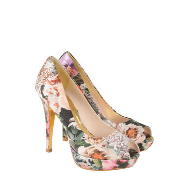 Womens Multi Colour Satin Floral Peep Toe Heeled Shoes