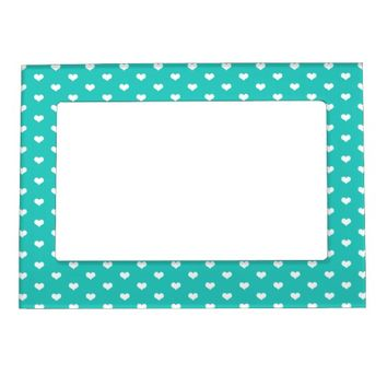 Cute Mint White Hearts - Picture Magnetic Frame