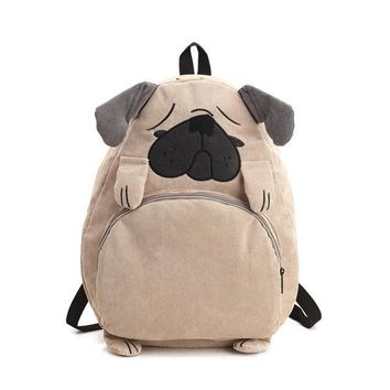 Student Backpack Children Cute Cartoon Embroidery Animal Backpack Corduroy Large Capacity Schoolbag Student Backpack AT_49_3