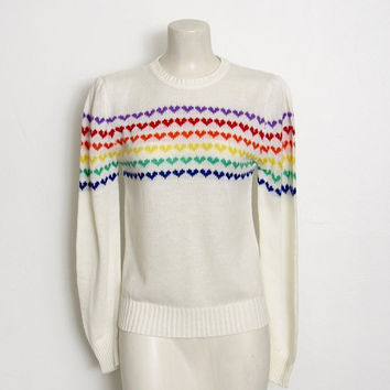 Vintage 1980s Justin Allen Sweater / Off White w/ Rainbow Hearts / Novelty Knit Pullover