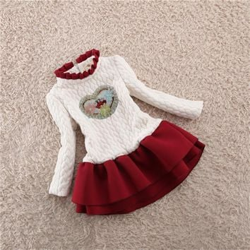 BibiCola Girls Dress Autumn Winter 2017 Baby Girls Warm Clothing kids Girl birthday Tutu Princess Dress Christmas Bebe Clothes