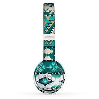 The Vector Teal & Green Aztec Pattern  Skin Set for the Beats by Dre Solo 2 Wireless Headphones