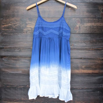 dip dye flowy bohemian mini dress in ombre blue