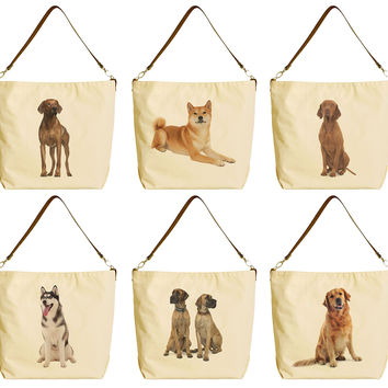 Dog Various Breed Beige Print Canvas Tote Bag with Leather Strap WAS_29