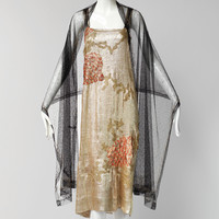 Rare 1920s Gold Lame Embroidered Flapper Dress with Shawl