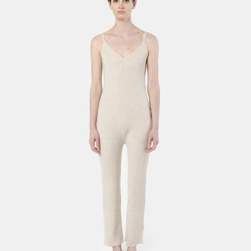 Ribbed Jumpsuit in Oatmeal