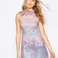 ASOS Contrast Embroidered Collar Organza Mini Skater Dress