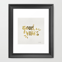 Good Vibes – Gold Ink Framed Art Print by Cat Coquillette