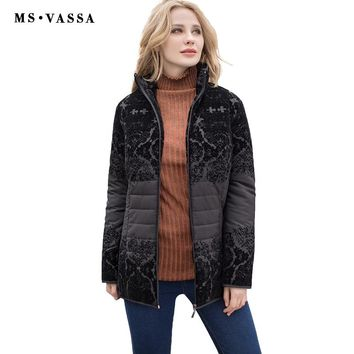 Women jacket fashion ladies casual jacket with flock turn-down collar outerwear