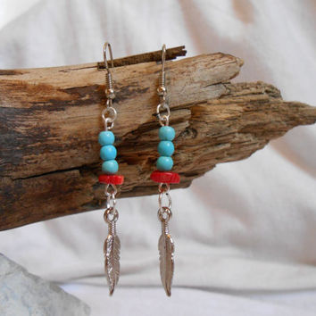 Native American, Turquoise and Red Coral Earrings with Silver Feathers, Handmade by Oglala Lakota Aritisan, OOAK