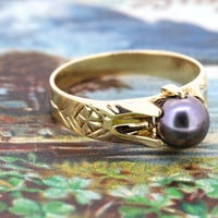 Antique Pearl Engagement Ring   Victorian Ring   Tahitian Pearl Gemstone Ring   Vintage Yellow Gold Promise Ring   Belcher Ring   Size 7.25