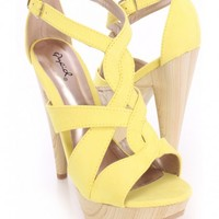 Yellow Strappy Peep Toe Heels Faux Suede