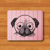Little Bug Dog Animal Drawing Sweet Pink Wood Mouse Pad Art Wooden MousePad Computer Desk Deco Work Pad Mat Computer Personalized Boss Gift