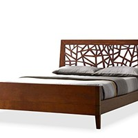 Baxton Studio Jennifer Tree Branch Inspired Walnut Finishing Solid Wood Platform Base Bed Frame, Queen