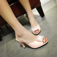 Stylish Design Slippers Summer With Heel Shoes Peep Toe Sandals [4920246852]