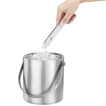 Realand 2/3L Stainless Steel Double Wall Insulated Ice Bucket for Home Party BBQ Wedding Gift Ice Cube Bar Wine Accessory