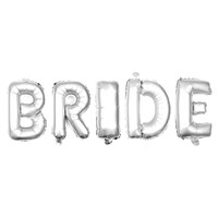BRIDE Non-Floating Letter Balloons - 13 Inch Silver