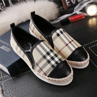2016 brand new women espadrilles leather patchwork fisherman shoes weave plaids checks geometric gingham oxfords loafers