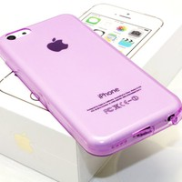 DIGIWAVES U.S.A. - (LIGHT PURPLE) The Super Slim and Durable Protective TPU Clear See-Thru Jelly Soft Smooth Back Cover Unique Case For iPhone 5C Scratch-Resistant Slim Light Weight Case