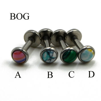 BOG-Lot 3Pcs  Stone Labret Monroe Lip Stud Ear Piercing Cartiliage Tragus Helix Earring Nose Stud 16g Lip Ring Body Jewelry