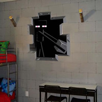 Minecraft Decal - Mysterious Enderman Hiding in the Wall