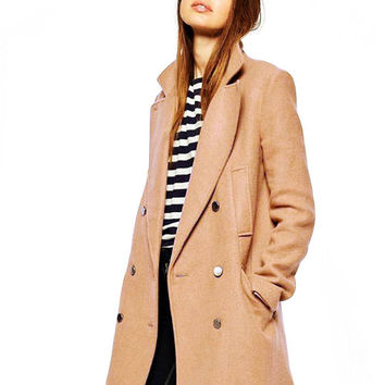 Khaki Double-breasted Duffel Coat