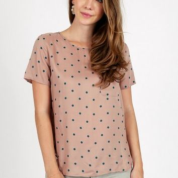 Logan Polka Dot Top In Peach