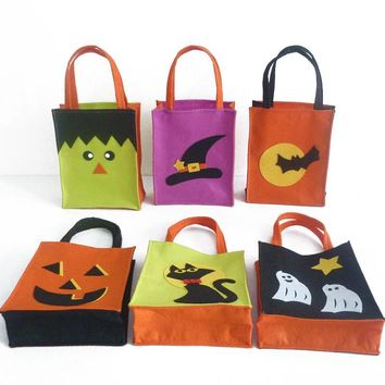 Cartoon Halloween Candy Bags Cat Ghost Pumpkin Printed Carnival Candy Tote Bag Kids Gift Trick or Treat Bags Party Supplies