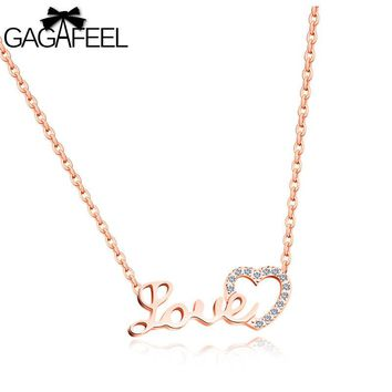 GAGAFEEL Hollow Heart Necklace Pendant Chic Love Letters Pendants For Women Pave Zirconia Silver Rose Gold Color