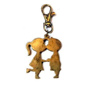 kissing kids / couple necklace or keychain