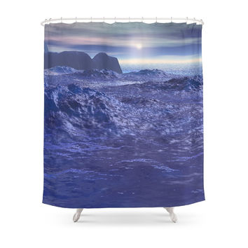 Society6 Frozen Sea Of Neptune Shower Curtains